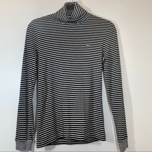 Lacoste Striped Two Toned Turtleneck Sweater Top